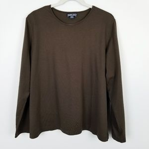 Lands' End Brown Long Sleeve Cotton Top Size 18-20
